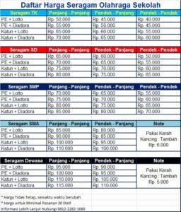 harga seragam olahraga SD di Taliwang